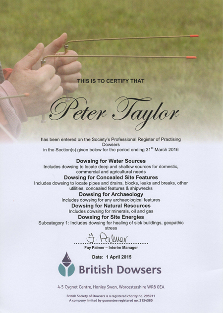 Peter Taylor - Register of Practicing Dowsers Certificate