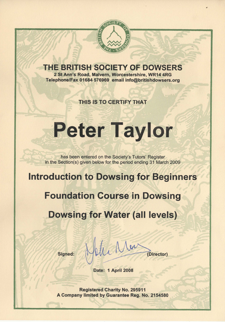Peter Taylor, The British Society of Dowsers - Certification